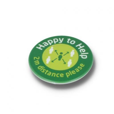 Image of HAPPY TO HELP SOCIAL DISTANCING DBASE BADGE - 45MM CIRCLE